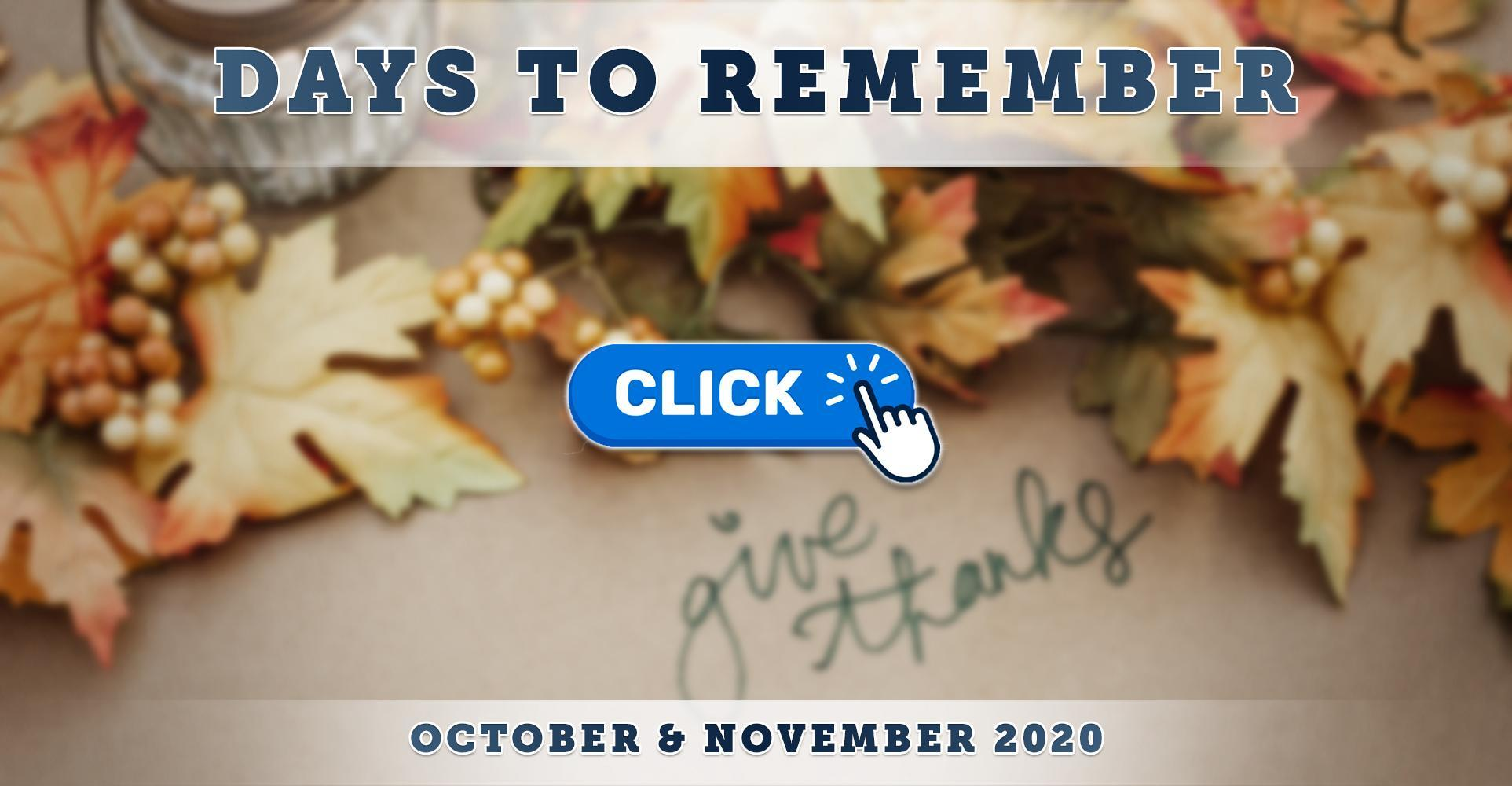 Fall Dates to Remember: October & November 2020