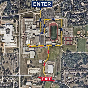 Pickup Route - Enter on Zion into the back parking lot at Tomball High School, follow directions and cones, exit onto Barker.