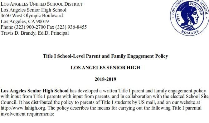Title I Parent and Family Engagement Policy Featured Photo