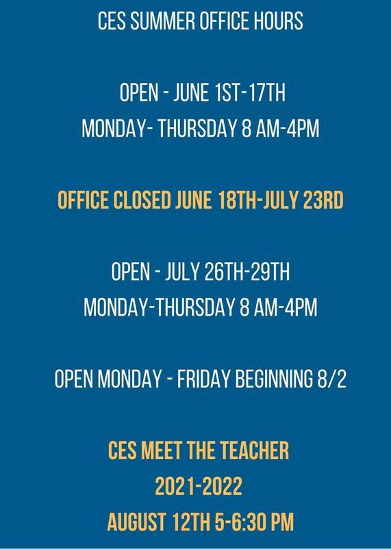 CES SUMMER HOURS & MEET THE TEACHER INFO!! Featured Photo