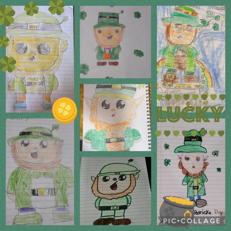Leprechaun drawing collage