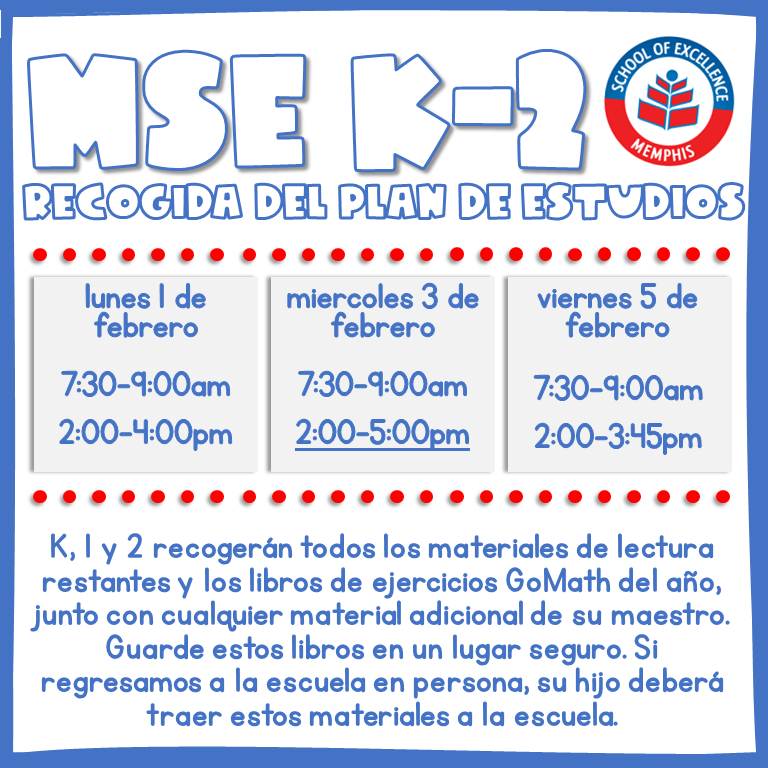 MSEM K-2 Curriculum Pickup