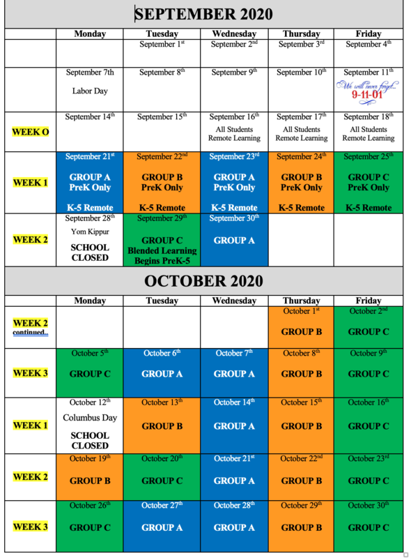 Blended learning groups A, B and C Schedule and Calendar