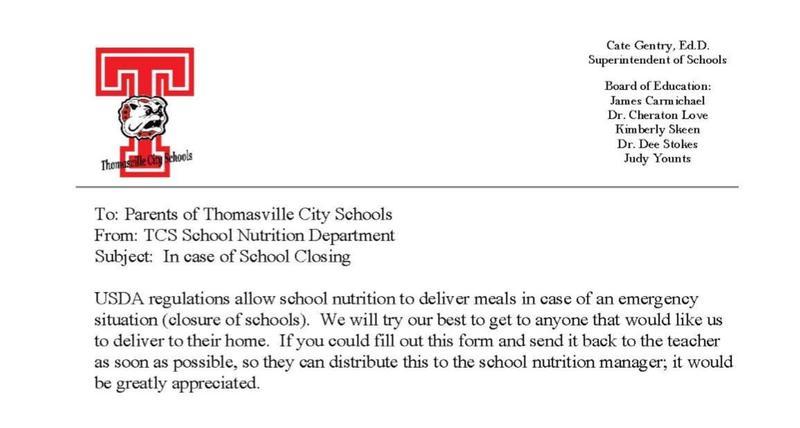 School nutrition letter