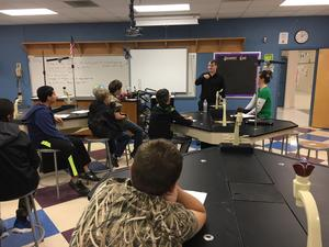 Students at B-L Middle School hear from Travis Calder, a software developer at YoppWorks, during the school's annual AVID Career Day that was held on Friday, December 21st.