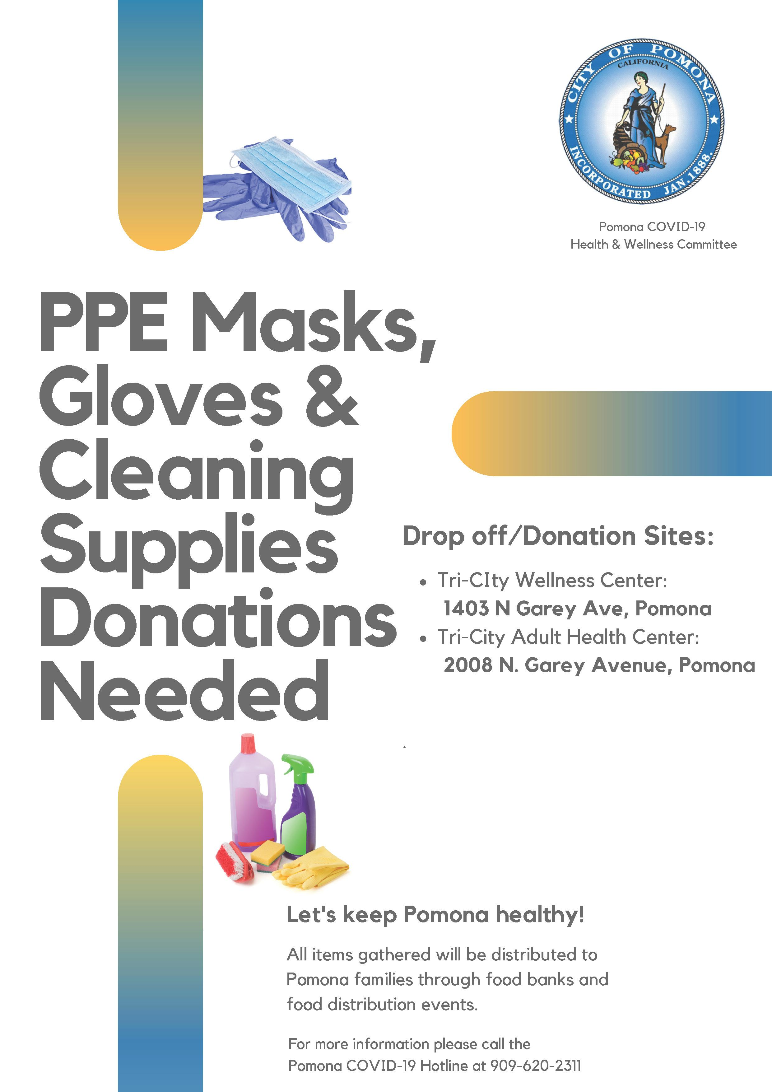 PPE Masks, Gloves & Cleaning Supplies Donations Needed