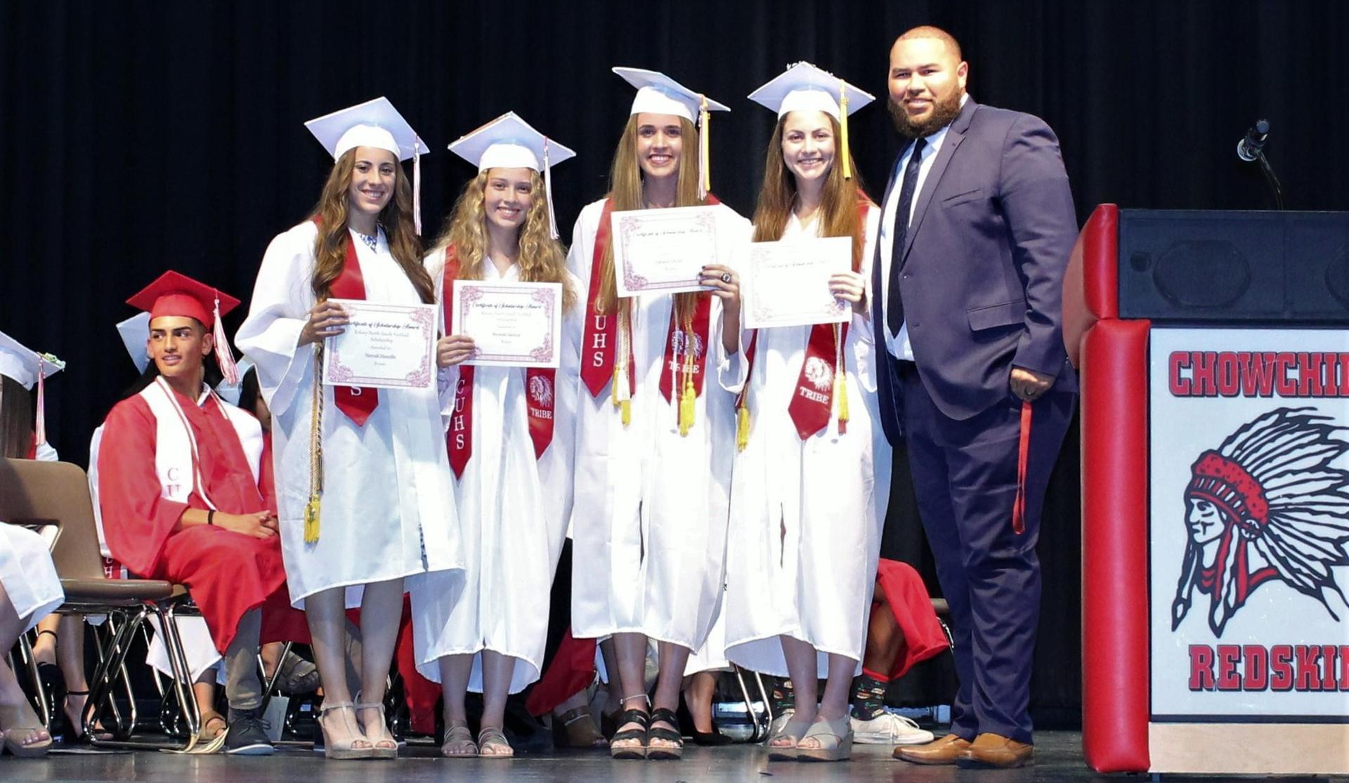 Hannah Mancebo, Miranda Valencia, Adriana Felsinger, Emily Seals, CUHS Athletic Director Jordan Murphy