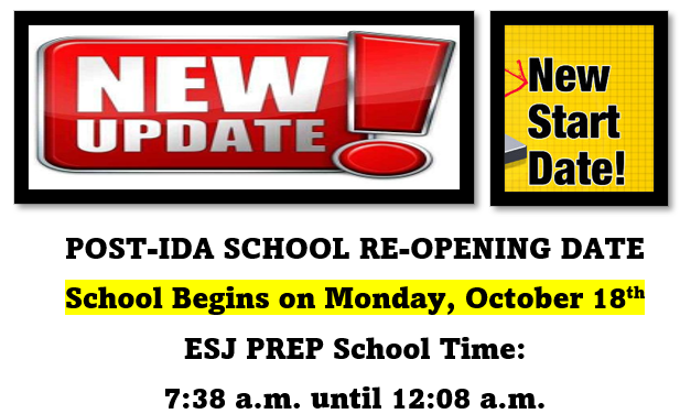 UPDATE.....POST-IDA SCHOOL RE-OPENING MONDAY, OCTOBER 18TH! Thumbnail Image