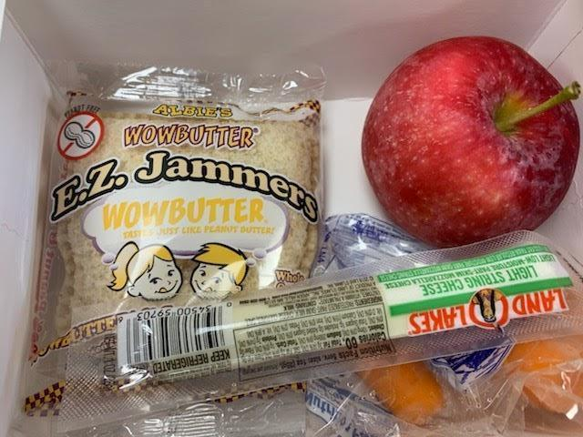 Wow butter sandwich and fruit