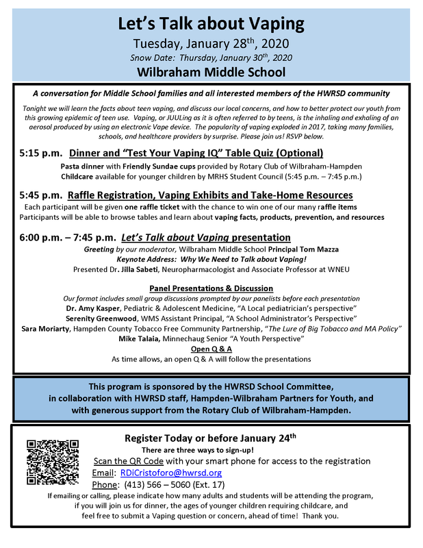 LET'S TALK ABOUT VAPING - JANUARY 28, 2020 - WILBRAHAM MIDDLE SCHOOL Featured Photo