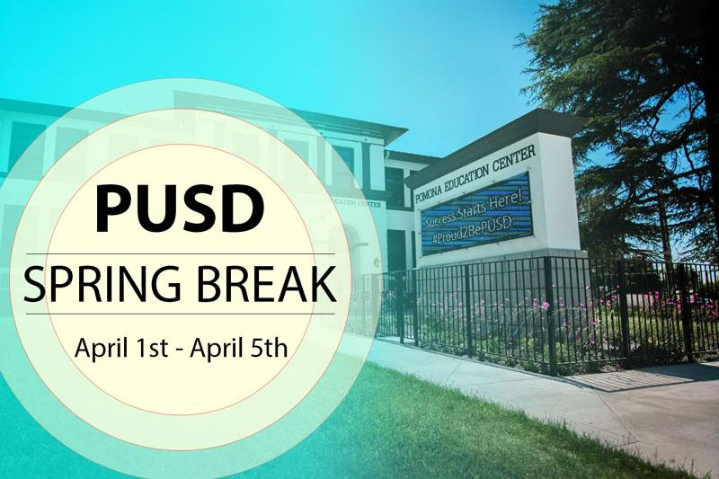 All PUSD Schools will be closed for Spring Break, Monday, April 1st - Friday, April 5, 2019.  Have a wonderful, safe week.  We look forward to seeing all students back to school on Monday, April 8th!