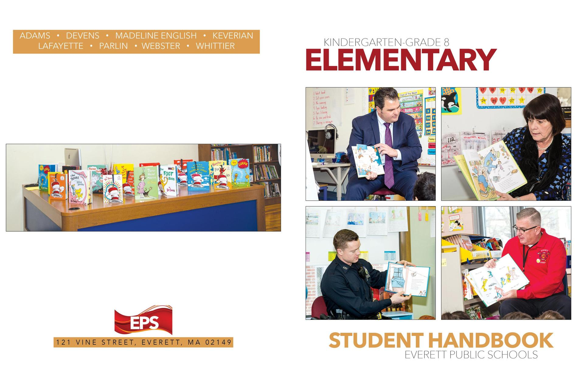 Elementary handbook front and back cover, with four images of people reading to students