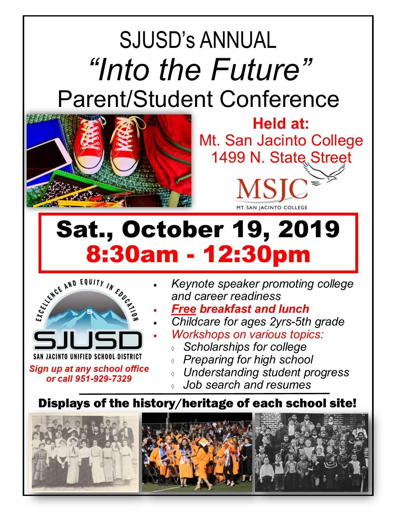 Flyer for Into the Future Parent/Student Conference