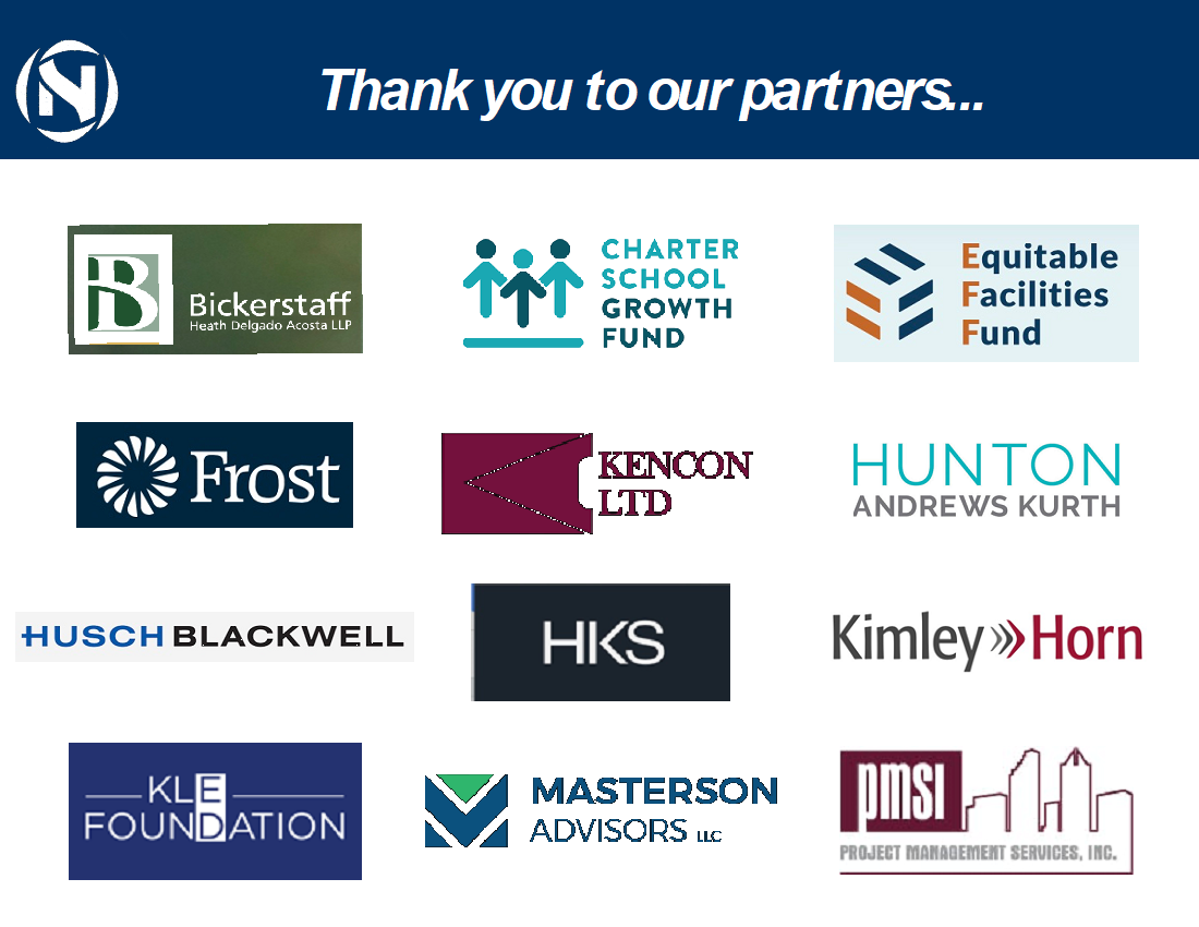 External partner logos: Bickerstaff, Charter School Growth Fund, Equitable Facilities Fund, Frost, Kencon, Hunton Andrews Kurth, Husch Blackwell, HKS, Kimley Horn, KLE Foundation, Masterson Advisors, PMSI