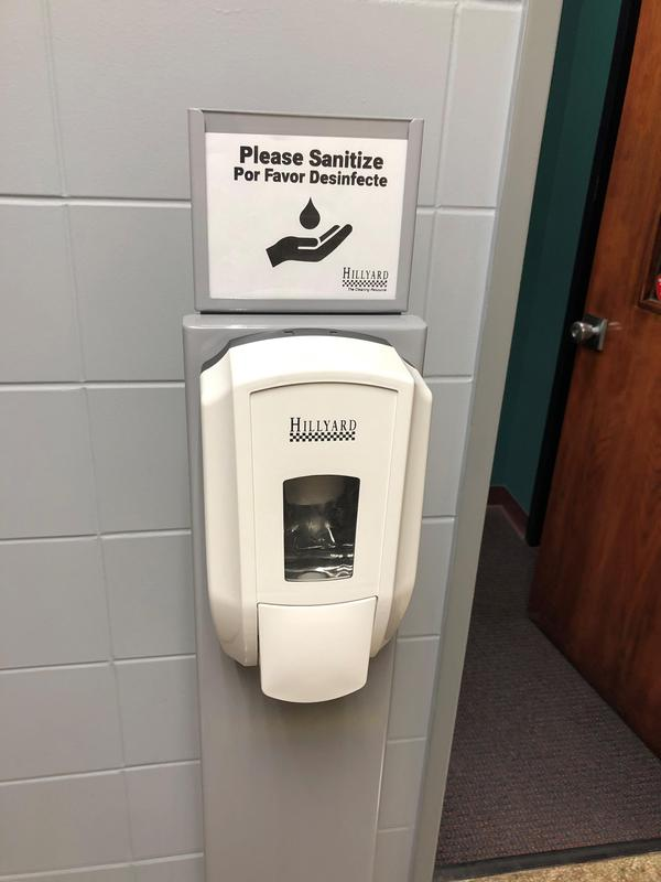 Hand-sanitizing stations at Xavier 2020