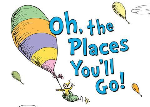 Oh, the places you'll go text and Cat in the Hat in a hot air balloon graphic