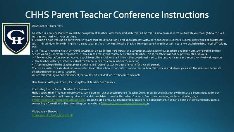 CHHS Fall Parent Teacher Conferences