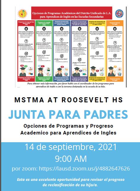 English Learners Program - Parent Meeting   * Programa de Estudiantes Apredices de inglés - Reunión de padres  September 14, 2021 9am Featured Photo