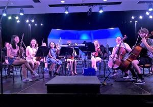 Photo of members of the Westfield High School orchestra who traveled to Disney World in Orlando over spring break to participate in a unique workshop that culminated in a polished recording in a professional studio, as the WHS ensemble performed special Disney music selections, accompanied by footage from a classic Disney film.