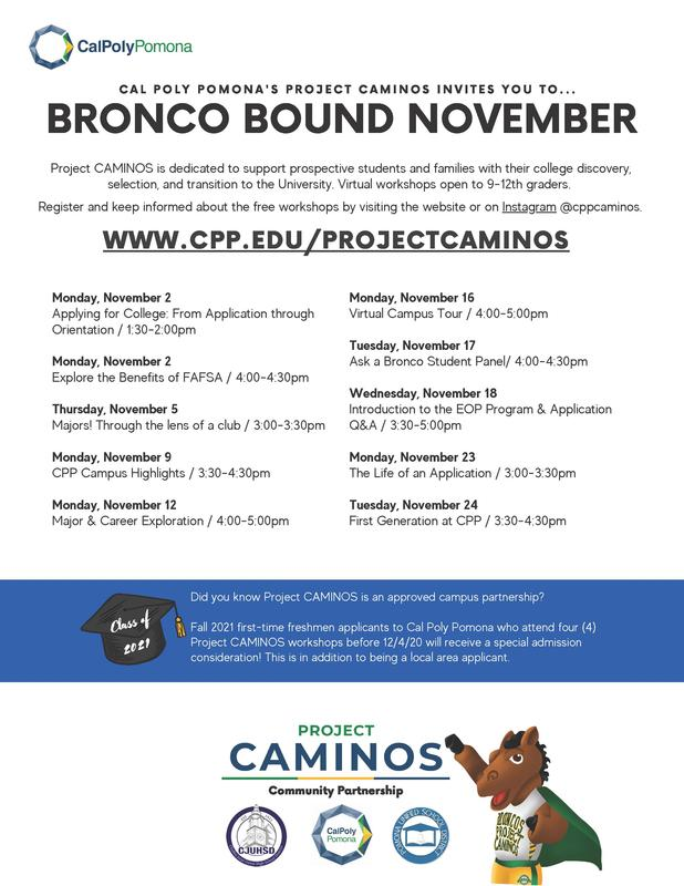 Project CAMINOS is dedicated to support PUSD students and families with their college discovery!