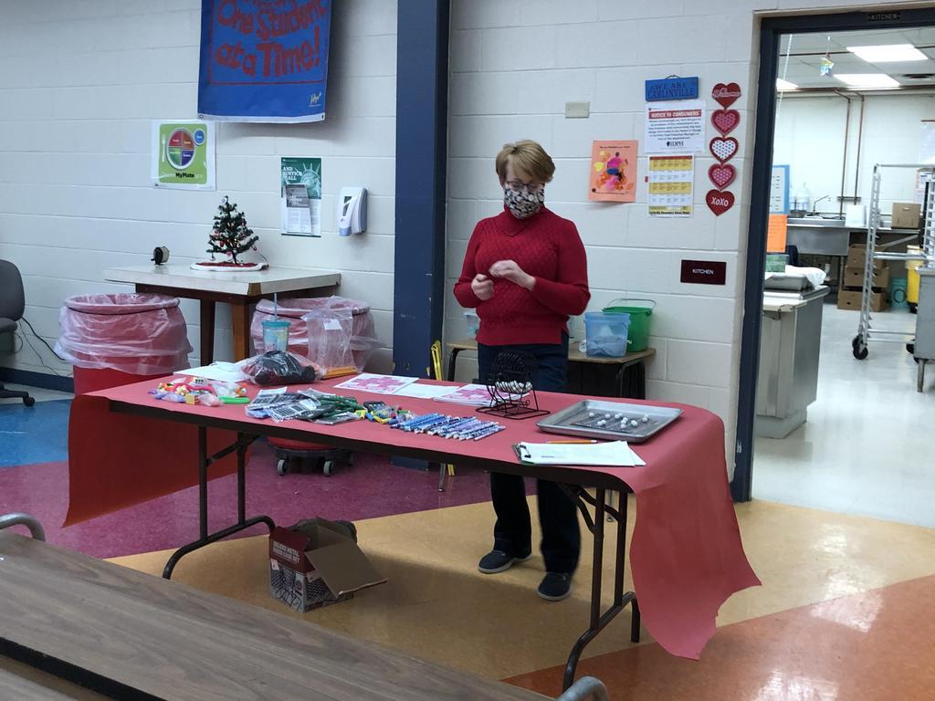 Mrs. Reiher directs Valentine BINGO