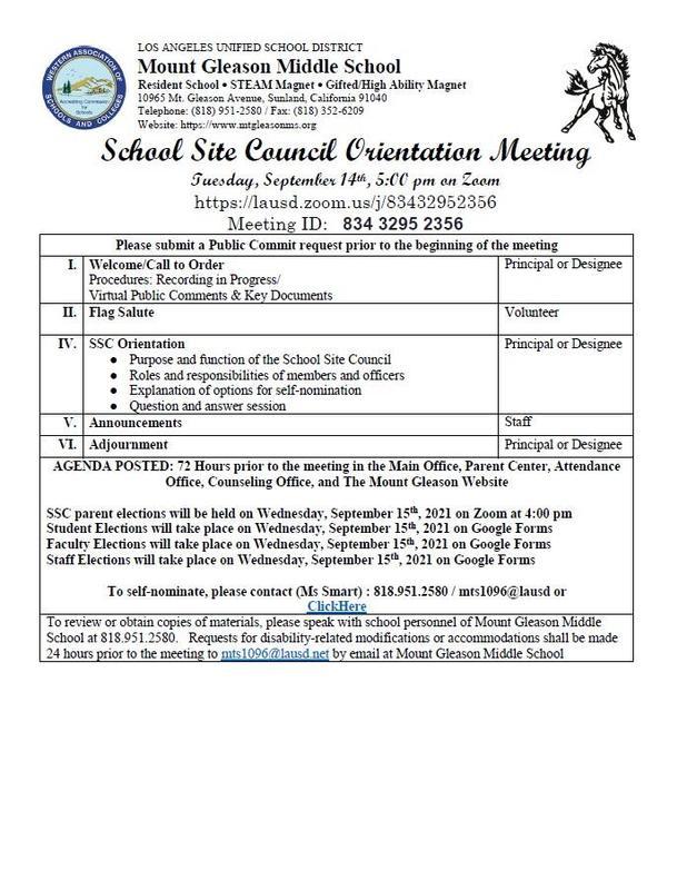 School Site Council Orientation