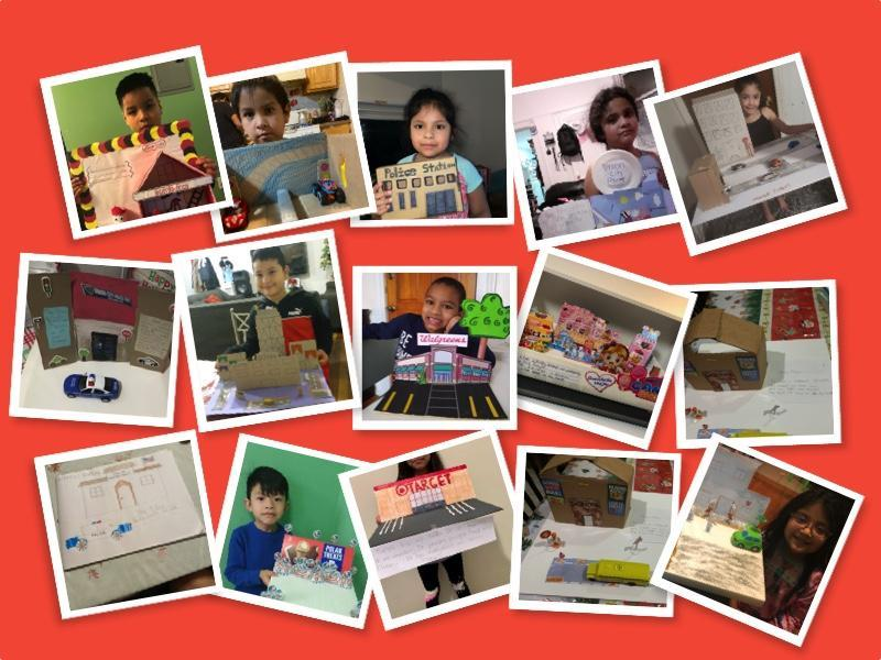 Students with projects collage