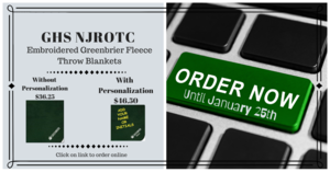 The Greenbrier NJROTC is pleased to announce our Winter Fundraiser. This year we will be selling Embroidered Greenbrier Fleece Throw Blankets which are perfect for those cooler nights in the stands while cheering on your favorite Greenbrier Sport.  For a few more dollars you can have your blanket personalized with your name (either first or last) or initials. The fleece blanket is available either online or via cash/check. We also have a few other items that are available online ONLY and pertain specifically to NJROTC these items include a Navy Hoodie, Yellow Long Sleeve T-Shirt (these items may be worn on PT Days!) and embroidered Navy