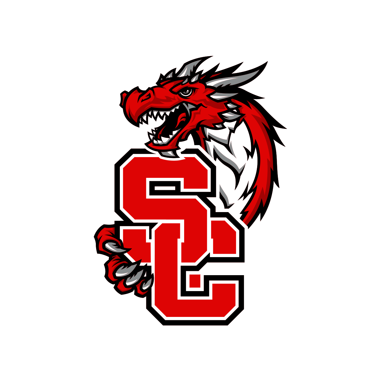 Official School Logo - Block s and c upon the dragon mascot