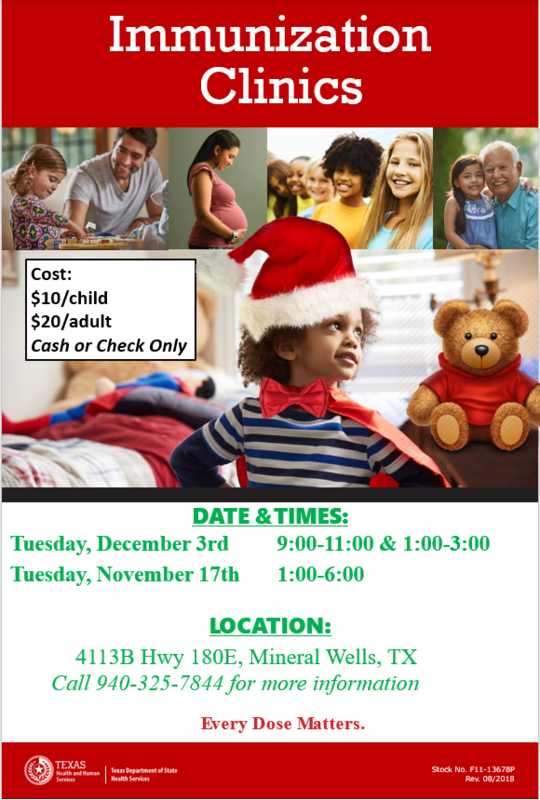 Flyer with times, locations, and dates for the December Immunizations clinic. Pictures with children and a teddy bear.