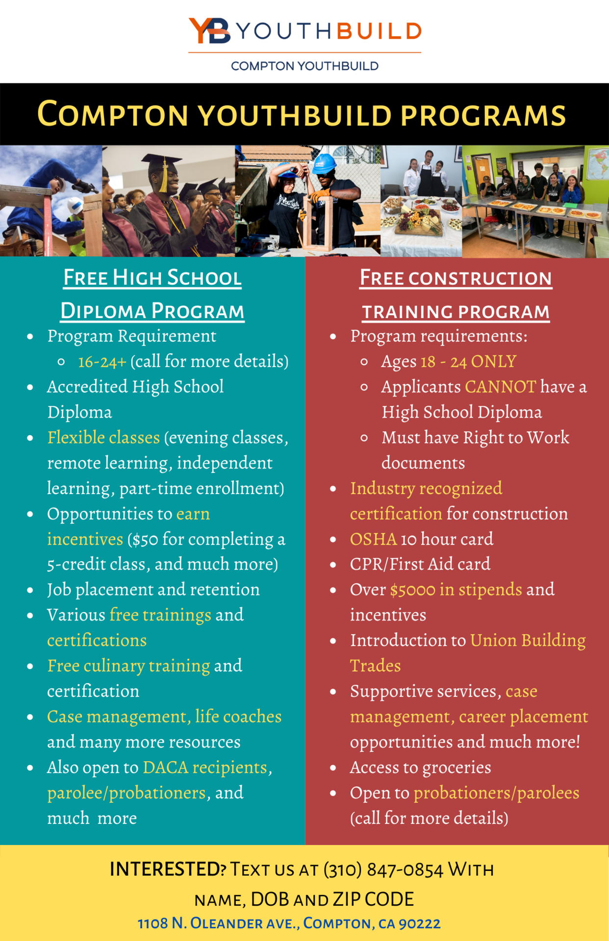 Compton YouthBuild flyer