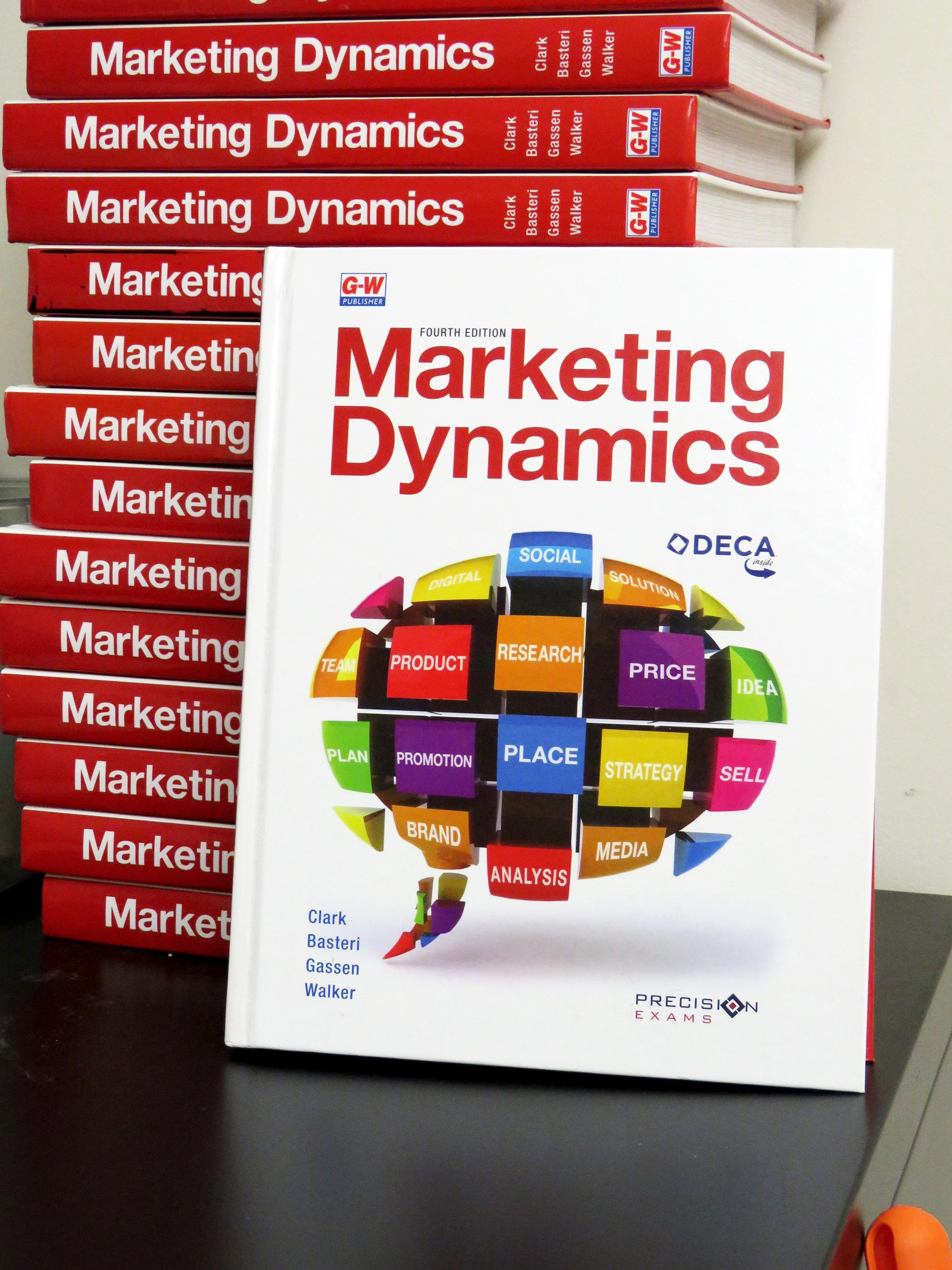 Close-up of the textbook called Marketing Dynamics
