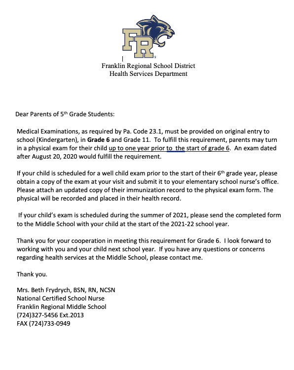 Medical Exam Notice for Current Gr. 5 Students Featured Photo
