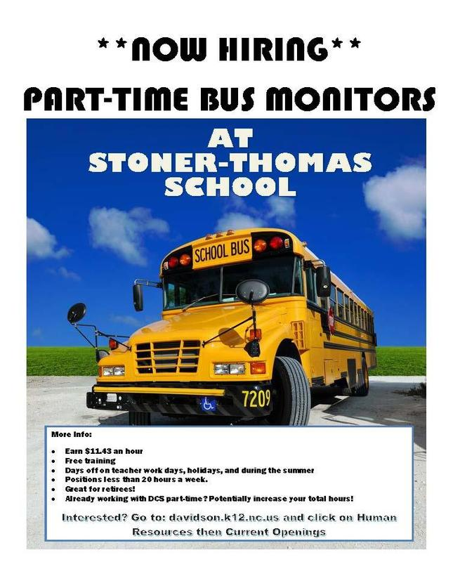 Part time bus monitors needed- now hiring