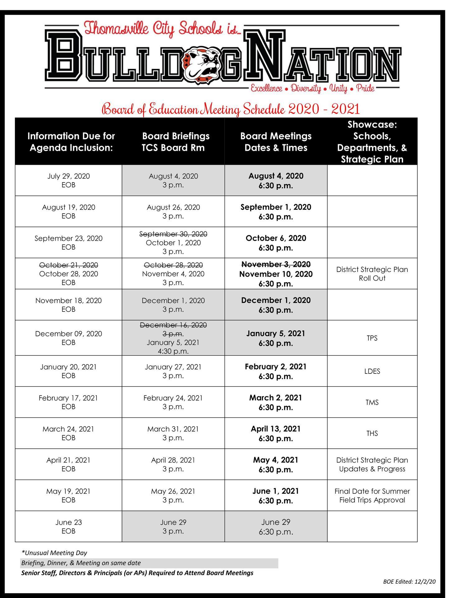 Board of Education Meeting Schedule