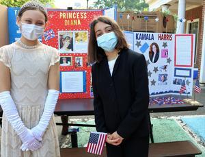 Photo of two Wilson 5th graders dressed as Princess Diana and Kamala Harris