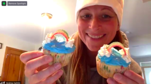 Ms. Sellitti showing 2 cupcakes via zoom