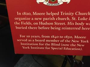 Poster closeup of Moore mentioning his 10 year tenure on the school