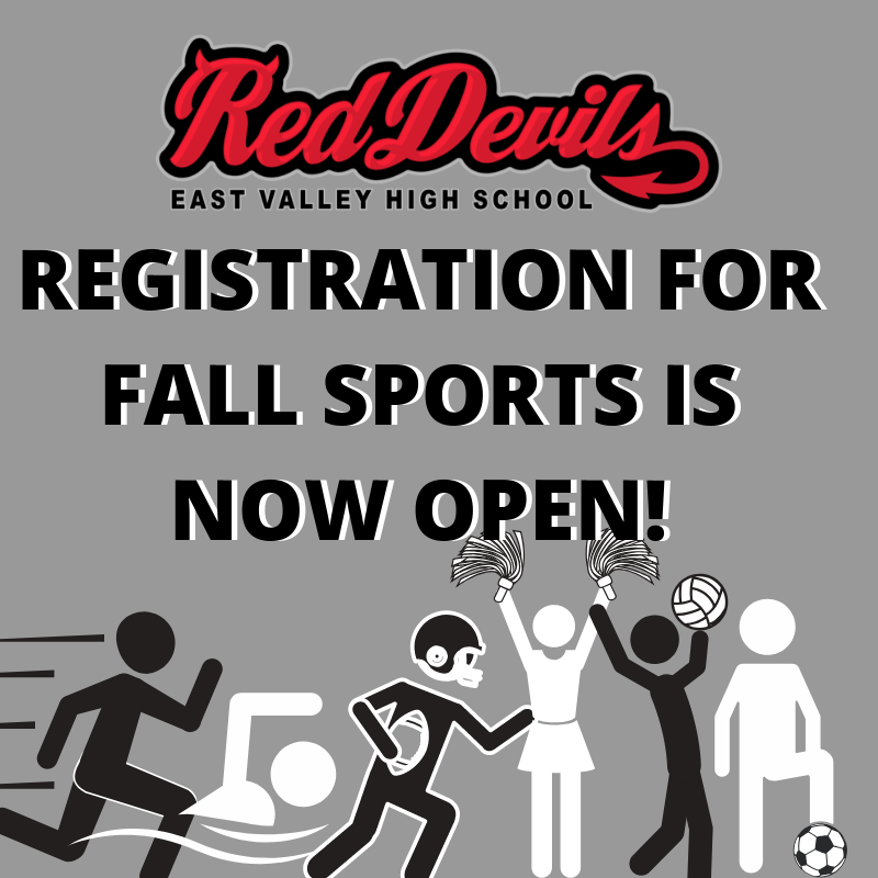 Registration for fall sports is now open with icons of people playing various sports.