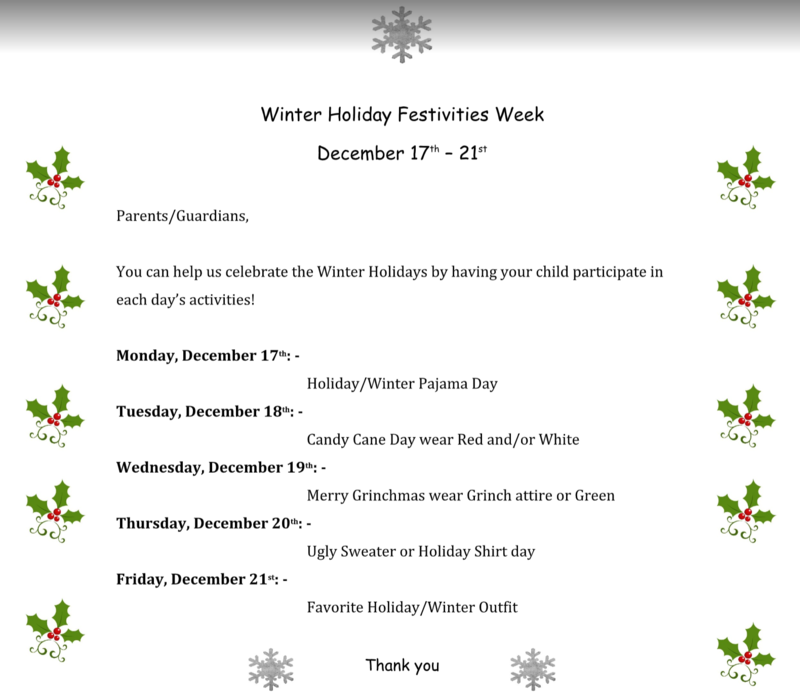 holiday week flyer 2018