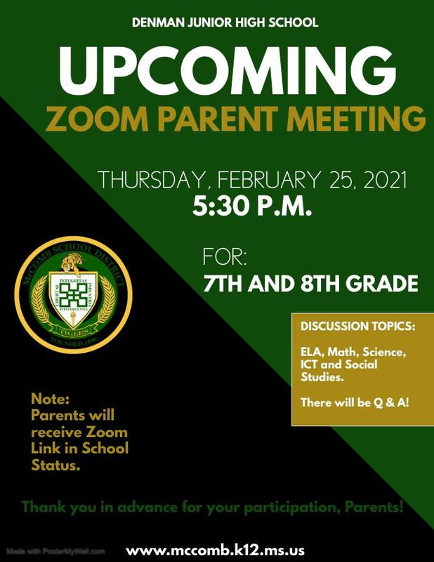 Denman Junior High School is set to host Zoom Parent Meetings 2021
