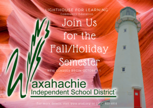 graphic with a lighthouse explaining that the Fall Semester of Lighthouse for Learning classes begins October 1