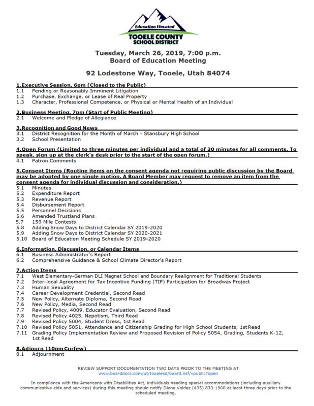 Board of Education meeting agenda for March 26th 2019