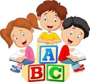 children with blocks clip art