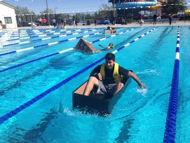 Palmdale students race in cardboard boats