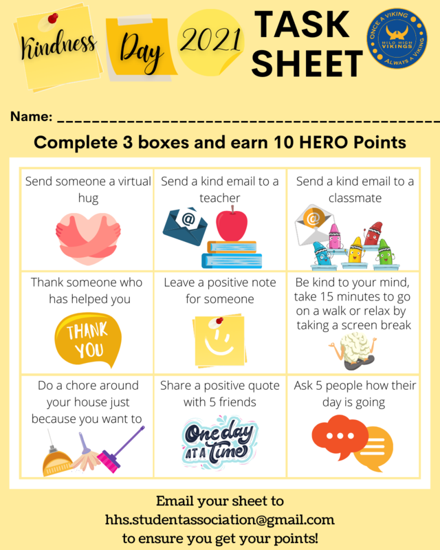 This infographic contains 9 different tasks to complete for Kindness Day