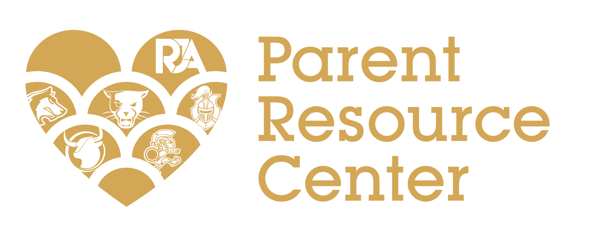 RJA Parent Resource Center logo in iEmpire colors (gold). To the left is a heart with all school logos and to the right reads Parent Resource Center