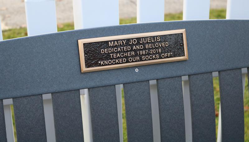 The Jefferson School community memorialized veteran teacher Mary Jo Juelis during a ceremony on Nov. 19.  Juelis, who passed away in 2017, was praised a consummate professional who treated each student as an individual.  Pictured here is a closeup of the plaque on the bench.
