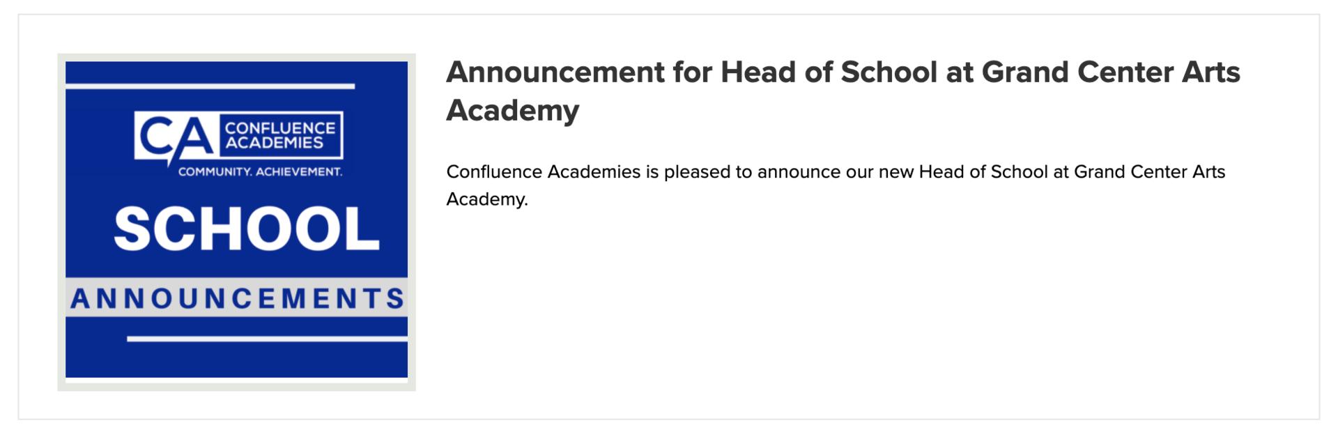 School Announcements Confluence