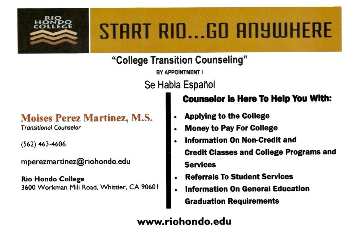 Rio Hondo Transitional Counselor Flyer